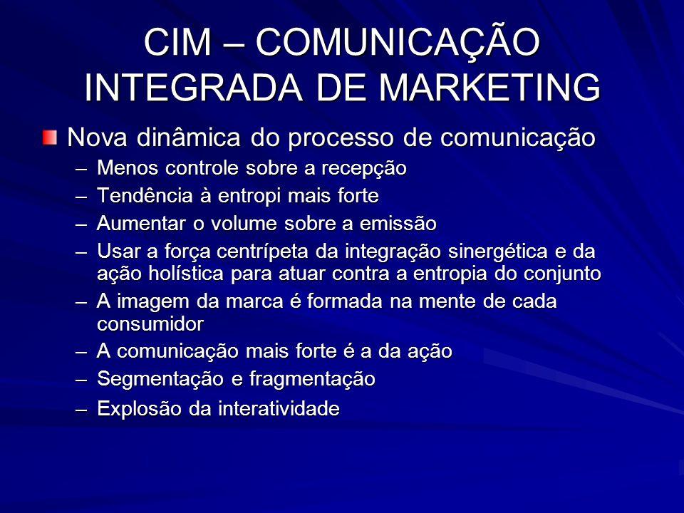 CIM – COMUNICAÇÃO INTEGRADA DE MARKETING Nova dinâmica do processo de comunicação –Menos controle sobre a recepção –Tendência à entropi mais forte –Au