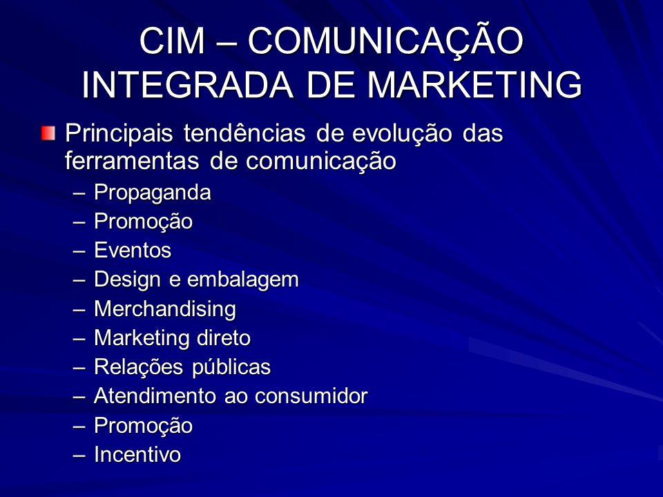 CIM – COMUNICAÇÃO INTEGRADA DE MARKETING Principais tendências de evolução das ferramentas de comunicação –Propaganda –Promoção –Eventos –Design e emb