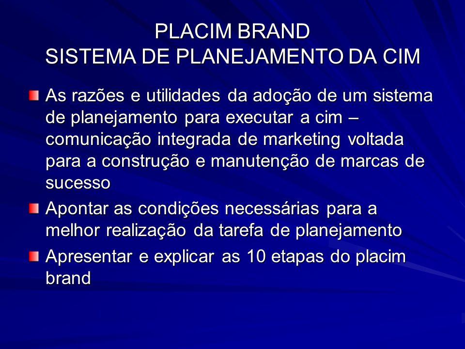 PLACIM BRAND SISTEMA DE PLANEJAMENTO DA CIM As razões e utilidades da adoção de um sistema de planejamento para executar a cim – comunicação integrada