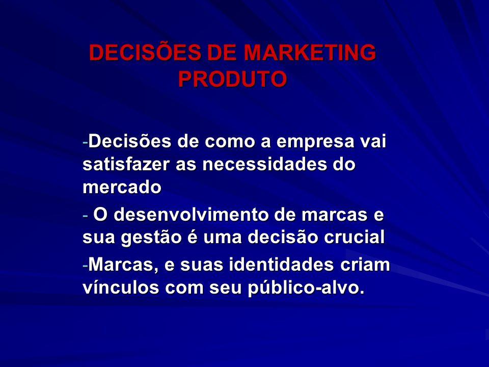DECISÕES DE MARKETING PRODUTO - Decisões de como a empresa vai satisfazer as necessidades do mercado - O desenvolvimento de marcas e sua gestão é uma