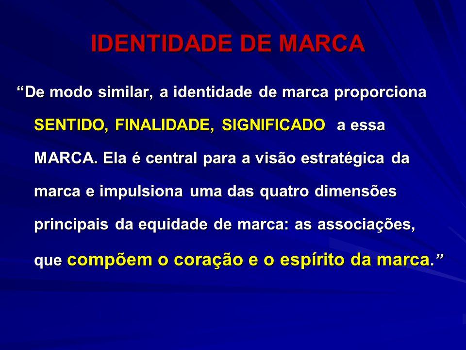 "IDENTIDADE DE MARCA ""De modo similar, a identidade de marca proporciona SENTIDO, FINALIDADE, SIGNIFICADO a essa MARCA. Ela é central para a visão estr"