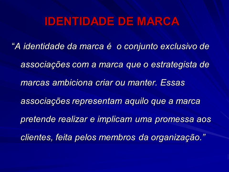 """IDENTIDADE DE MARCA """"A identidade da marca é o conjunto exclusivo de associações com a marca que o estrategista de marcas ambiciona criar ou manter. E"""