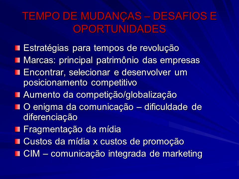 TEMPO DE MUDANÇAS – DESAFIOS E OPORTUNIDADES Estratégias para tempos de revolução Marcas: principal patrimônio das empresas Encontrar, selecionar e de