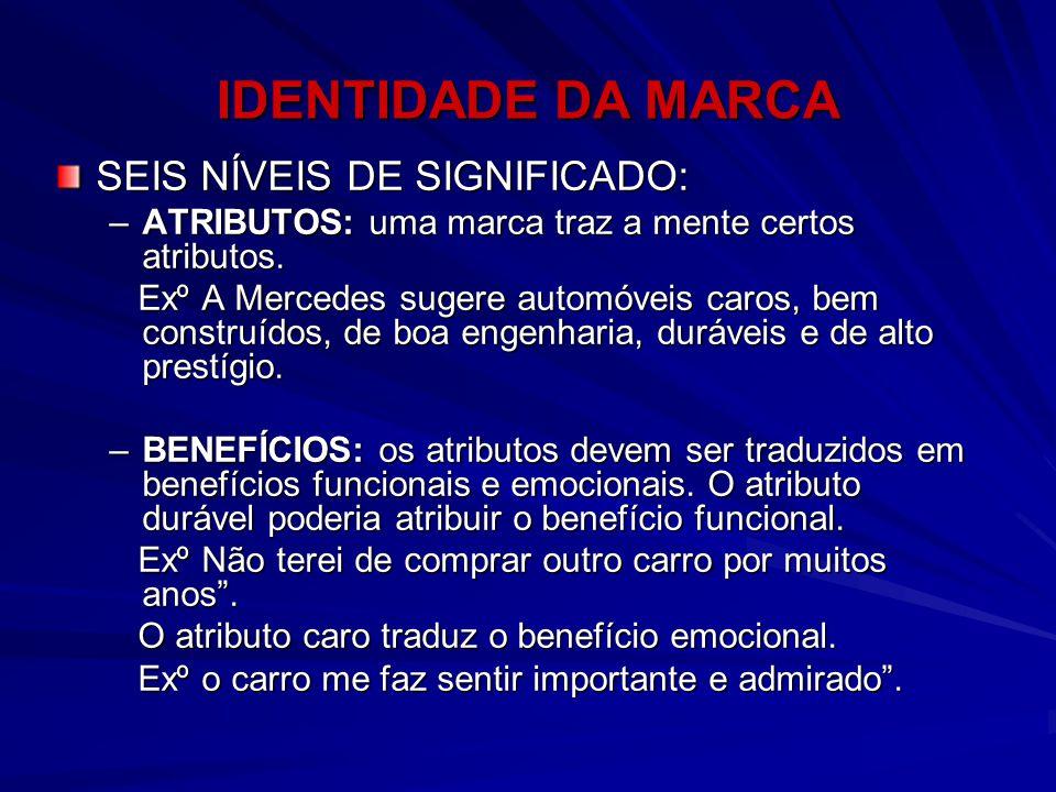 SEIS NÍVEIS DE SIGNIFICADO: –ATRIBUTOS: uma marca traz a mente certos atributos. Exº A Mercedes sugere automóveis caros, bem construídos, de boa engen