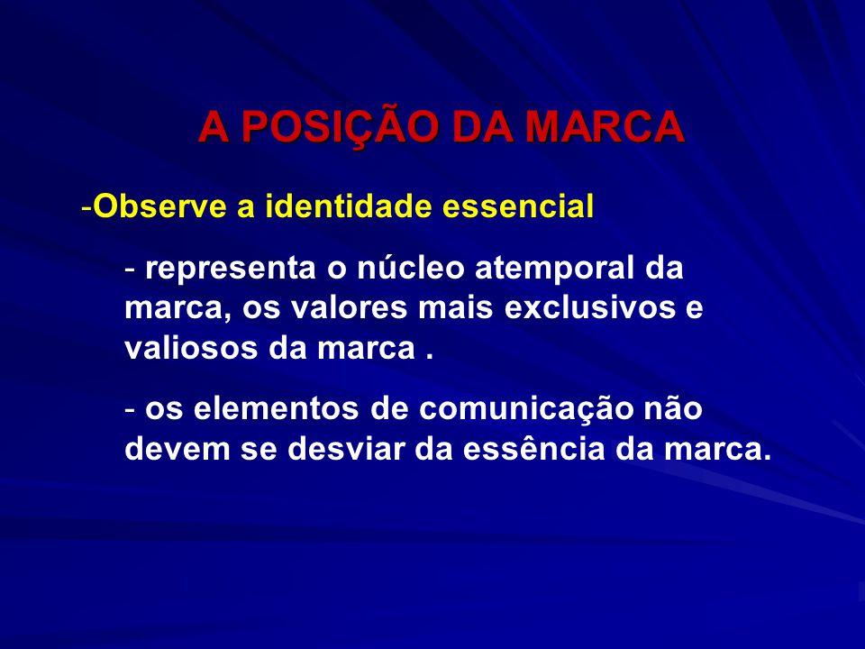 A POSIÇÃO DA MARCA A POSIÇÃO DA MARCA -Observe a identidade essencial - representa o núcleo atemporal da marca, os valores mais exclusivos e valiosos