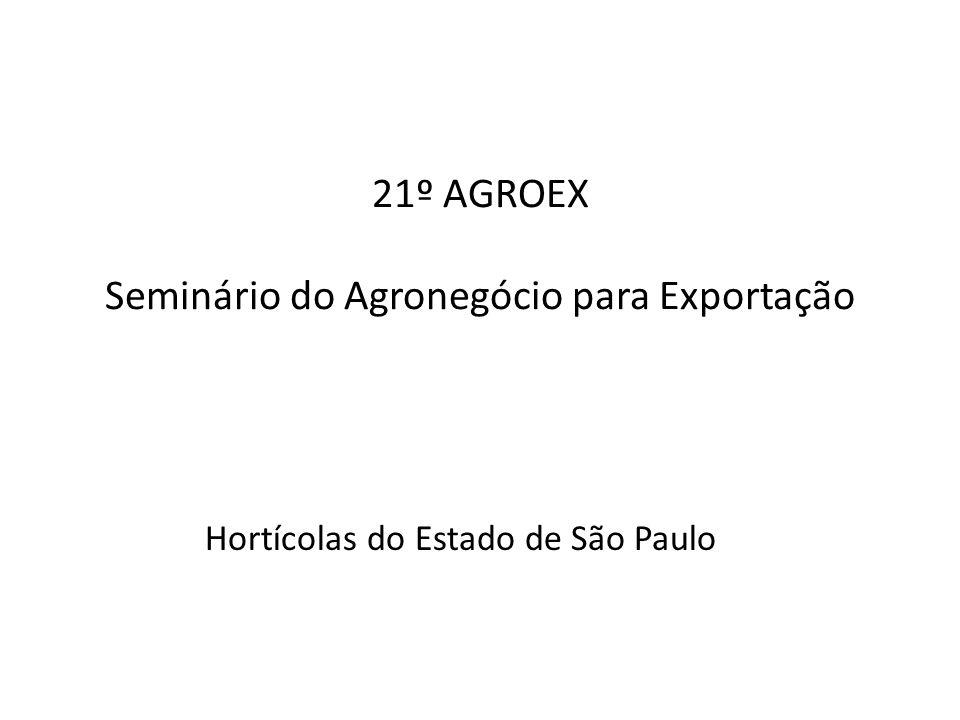 21º AGROEX Seminário do Agronegócio para Exportação Hortícolas do Estado de São Paulo