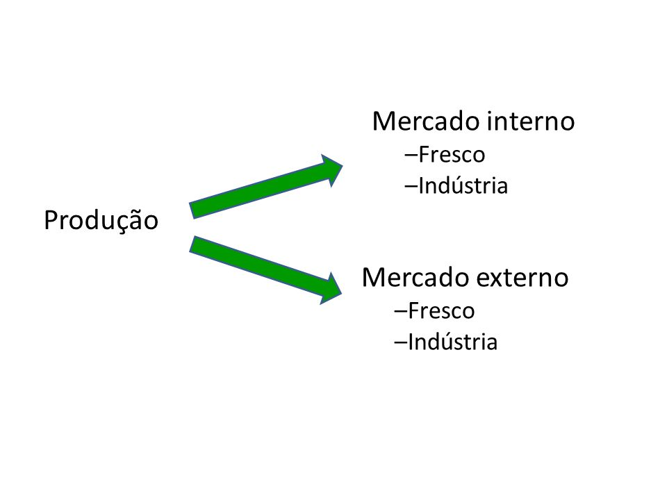 Produção Mercado interno –FrescoFresco –IndústriaIndústria Mercado externo –Fresco –Indústria