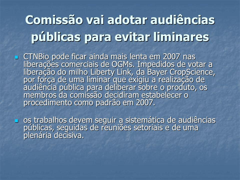 Comissão vai adotar audiências públicas para evitar liminares CTNBio pode ficar ainda mais lenta em 2007 nas liberações comerciais de OGMs. Impedidos