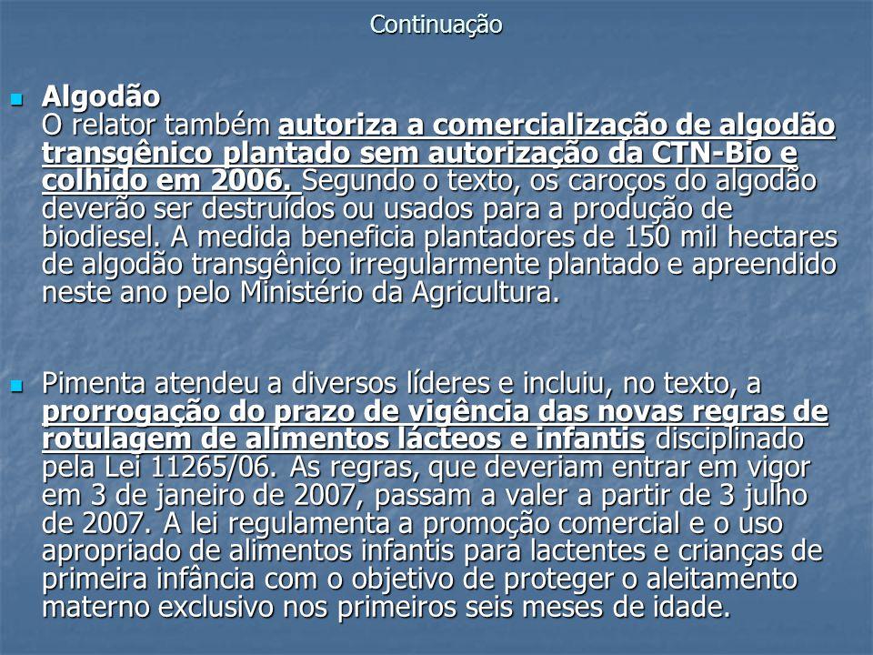 Continuação Algodão O relator também autoriza a comercialização de algodão transgênico plantado sem autorização da CTN-Bio e colhido em 2006. Segundo