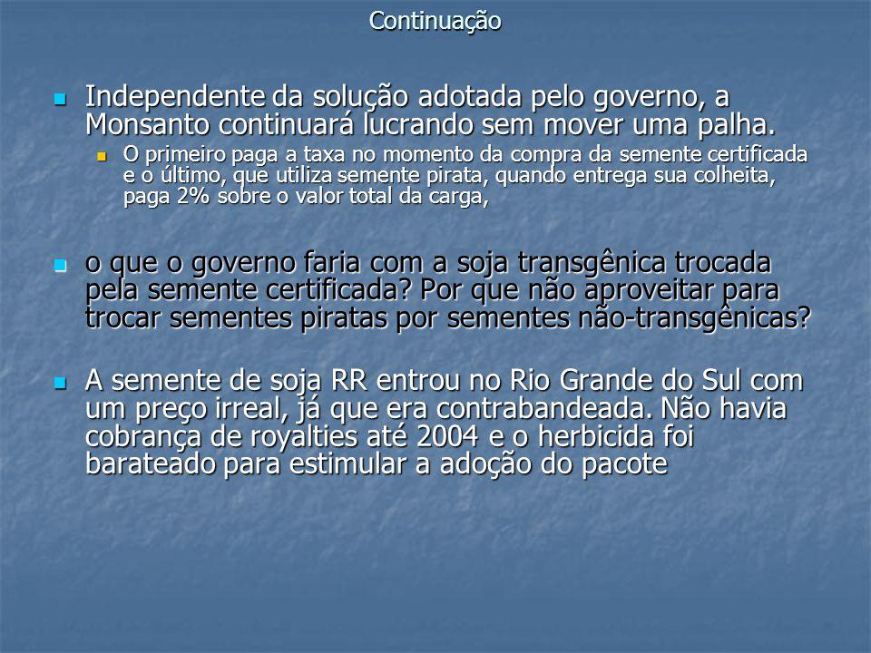RESISTÊNCIA AOS HERBICIDAS Além do acelerado aparecimento de invasoras imunes ao Roundup da Monsanto -- a exgir a compra e aplicação no campo de doses maiores do mesmo agrotóxico e de coquetéis cada vez mais letais de outros venenos -- a própria soja transgênica da Monsanto está virando praga de difícil controle nas plantações de outras culturas no sul do Brasil.