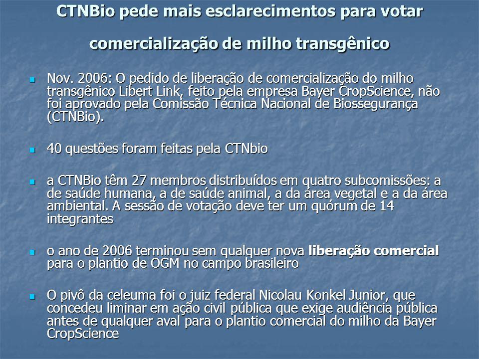 CTNBio pede mais esclarecimentos para votar comercialização de milho transgênico Nov. 2006: O pedido de liberação de comercialização do milho transgên