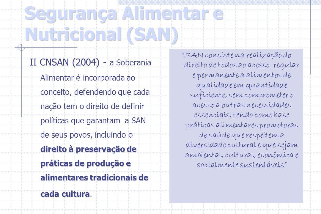 Segurança Alimentar e Nutricional (SAN) direito à preservação de práticas de produção e alimentares tradicionais de cada cultura II CNSAN (2004) - a S
