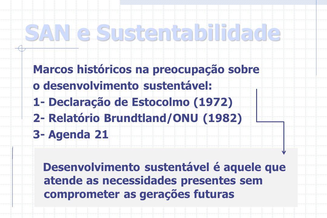 SAN e Sustentabilidade Marcos históricos na preocupação sobre o desenvolvimento sustentável: 1- Declaração de Estocolmo (1972) 2- Relatório Brundtland