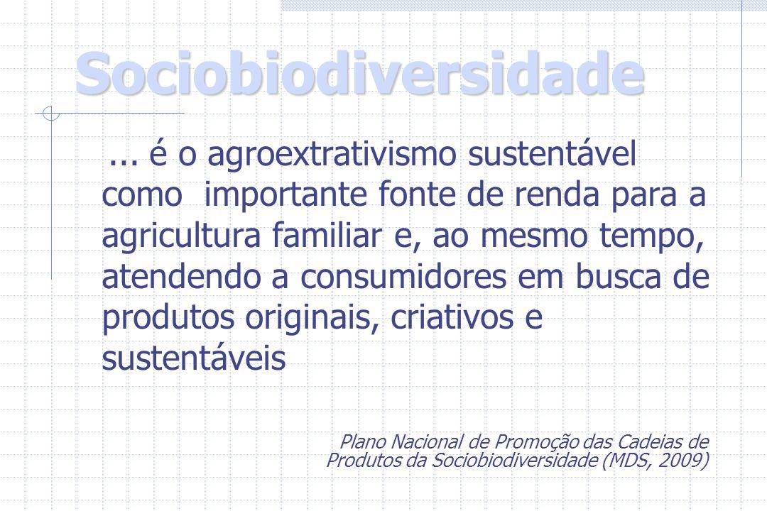 Sociobiodiversidade Sociobiodiversidade... é o agroextrativismo sustentável como importante fonte de renda para a agricultura familiar e, ao mesmo tem