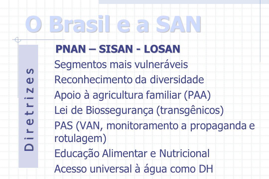O Brasil e a SAN PNAN – SISAN - LOSAN Segmentos mais vulneráveis Reconhecimento da diversidade Apoio à agricultura familiar (PAA) Lei de Biossegurança