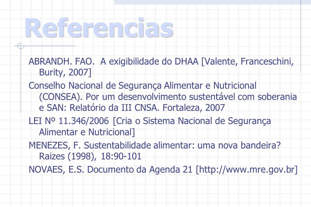 Referencias ABRANDH. FAO. A exigibilidade do DHAA [Valente, Franceschini, Burity, 2007] Conselho Nacional de Segurança Alimentar e Nutricional (CONSEA
