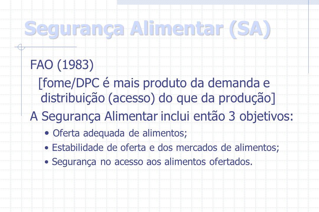 Segurança Alimentar (SA) FAO (1983) [fome/DPC é mais produto da demanda e distribuição (acesso) do que da produção] A Segurança Alimentar inclui então