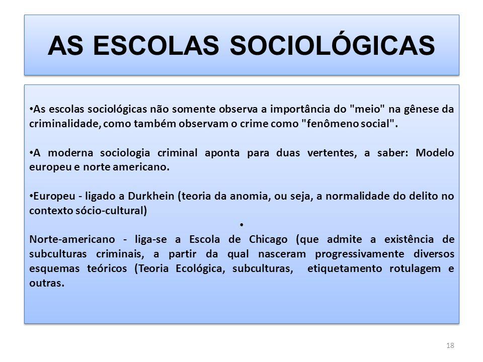 AS ESCOLAS SOCIOLÓGICAS As escolas sociológicas não somente observa a importância do meio na gênese da criminalidade, como também observam o crime como fenômeno social .