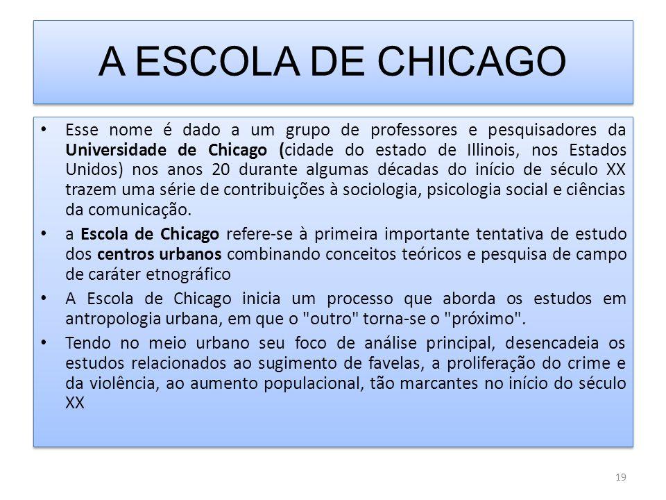 A ESCOLA DE CHICAGO Esse nome é dado a um grupo de professores e pesquisadores da Universidade de Chicago (cidade do estado de Illinois, nos Estados Unidos) nos anos 20 durante algumas décadas do início de século XX trazem uma série de contribuições à sociologia, psicologia social e ciências da comunicação.