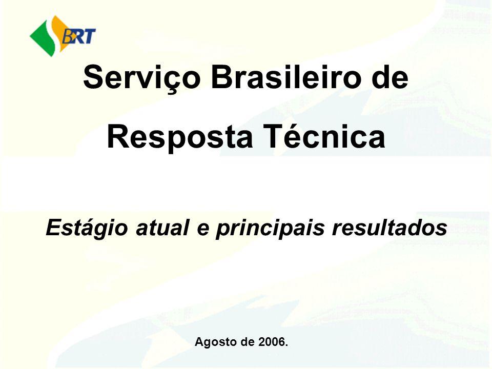 Serviço Brasileiro de Resposta Técnica Estágio atual e principais resultados Agosto de 2006.