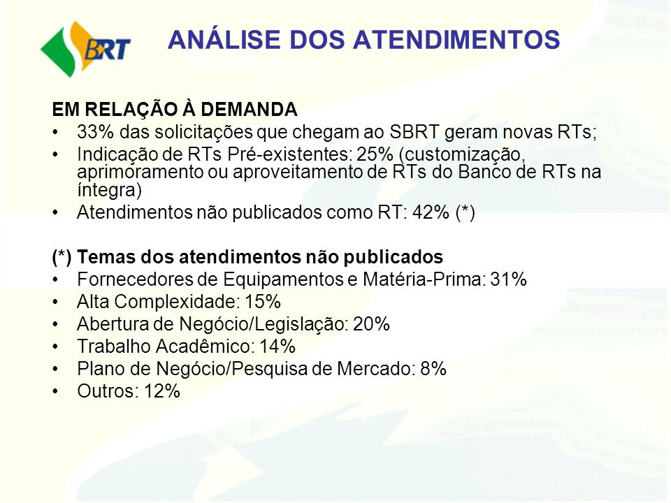 ANÁLISE DOS ATENDIMENTOS EM RELAÇÃO À DEMANDA 33% das solicitações que chegam ao SBRT geram novas RTs; Indicação de RTs Pré-existentes: 25% (customiza