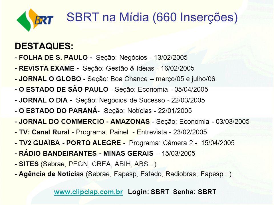 SBRT na Mídia (660 Inserções) DESTAQUES: - FOLHA DE S. PAULO - Seção: Negócios - 13/02/2005 - REVISTA EXAME - Seção: Gestão & Idéias - 16/02/2005 - JO