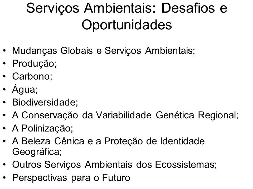 Serviços Ambientais: Desafios e Oportunidades Mudanças Globais e Serviços Ambientais; Produção; Carbono; Água; Biodiversidade; A Conservação da Variabilidade Genética Regional; A Polinização; A Beleza Cênica e a Proteção de Identidade Geográfica; Outros Serviços Ambientais dos Ecossistemas; Perspectivas para o Futuro