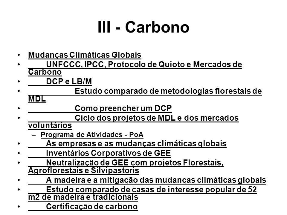 III - Carbono Mudanças Climáticas Globais UNFCCC, IPCC, Protocolo de Quioto e Mercados de Carbono DCP e LB/M Estudo comparado de metodologias florestais de MDL Como preencher um DCP Ciclo dos projetos de MDL e dos mercados voluntários –Programa de Atividades - PoA As empresas e as mudanças climáticas globais Inventários Corporativos de GEE Neutralização de GEE com projetos Florestais, Agroflorestais e Silvipastoris A madeira e a mitigação das mudanças climáticas globais Estudo comparado de casas de interesse popular de 52 m2 de madeira e tradicionais Certificação de carbono