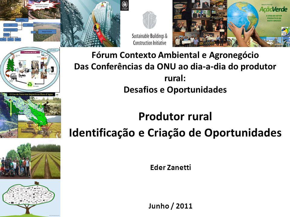 Fórum Contexto Ambiental e Agronegócio Das Conferências da ONU ao dia-a-dia do produtor rural: Desafios e Oportunidades Produtor rural Identificação e