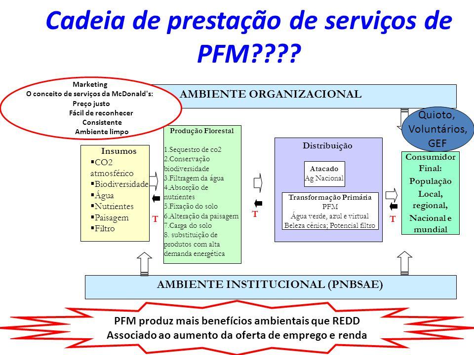 Cadeia de prestação de serviços de PFM???? T Consumidor Final: População Local, regional, Nacional e mundial Distribuição Atacado Ag Nacional Transfor