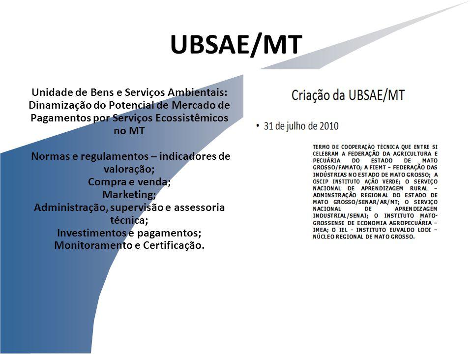 Unidade de Bens e Serviços Ambientais: Dinamização do Potencial de Mercado de Pagamentos por Serviços Ecossistêmicos no MT Normas e regulamentos – ind
