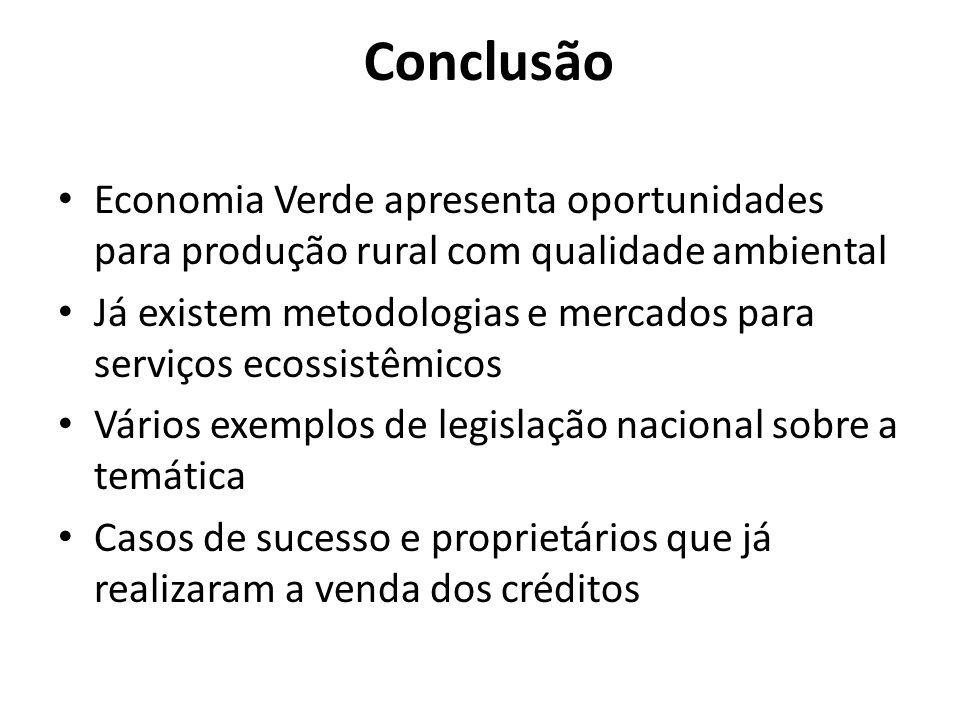 Conclusão Economia Verde apresenta oportunidades para produção rural com qualidade ambiental Já existem metodologias e mercados para serviços ecossist