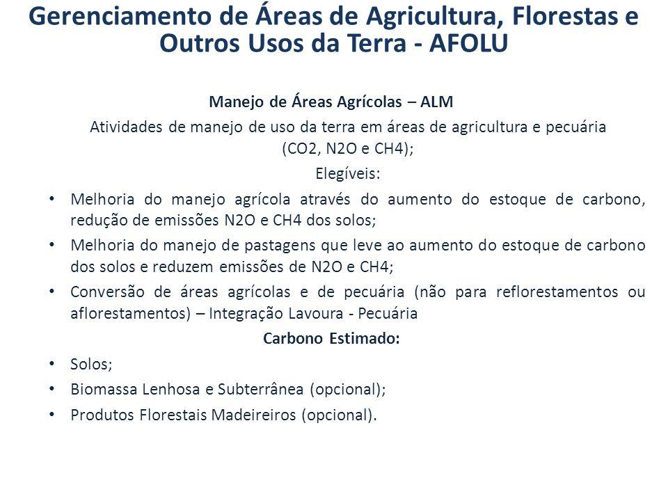 Manejo de Áreas Agrícolas – ALM Atividades de manejo de uso da terra em áreas de agricultura e pecuária (CO2, N2O e CH4); Elegíveis: Melhoria do manej
