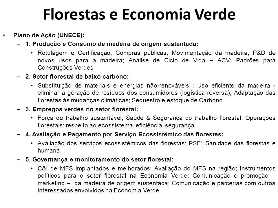 Florestas e Economia Verde Plano de Ação (UNECE): –1. Produção e Consumo de madeira de origem sustentada: Rotulagem e Certificação; Compras públicas;