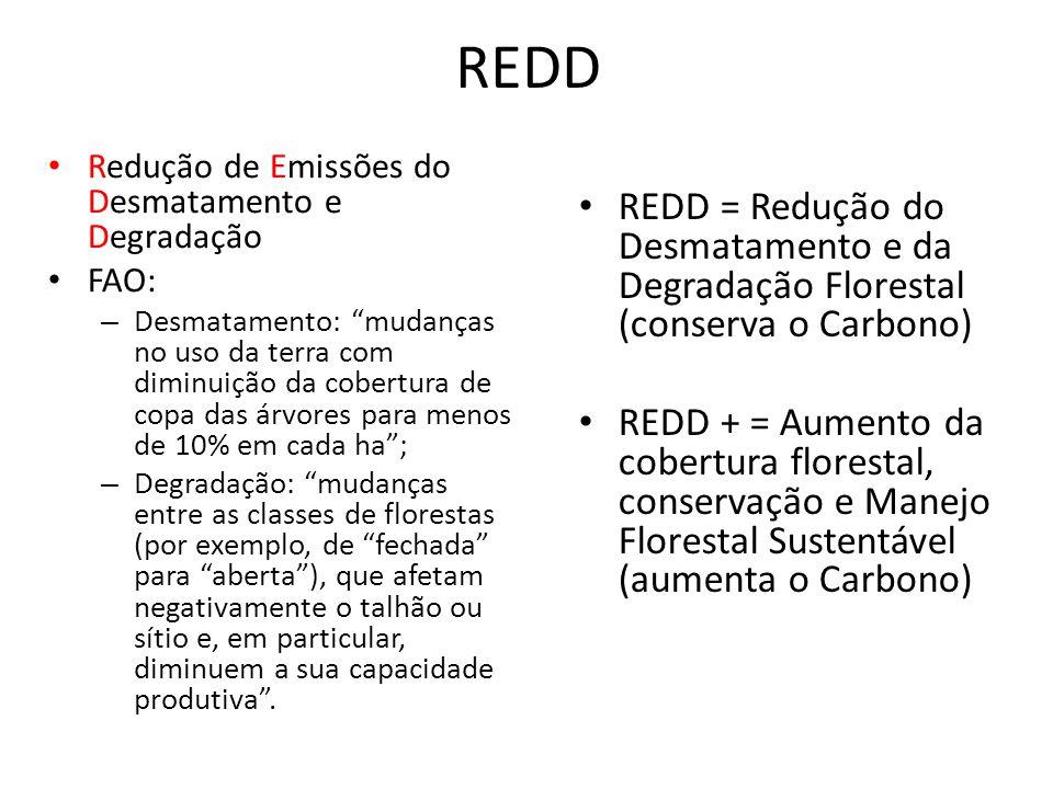 """REDD Redução de Emissões do Desmatamento e Degradação FAO: – Desmatamento: """"mudanças no uso da terra com diminuição da cobertura de copa das árvores p"""