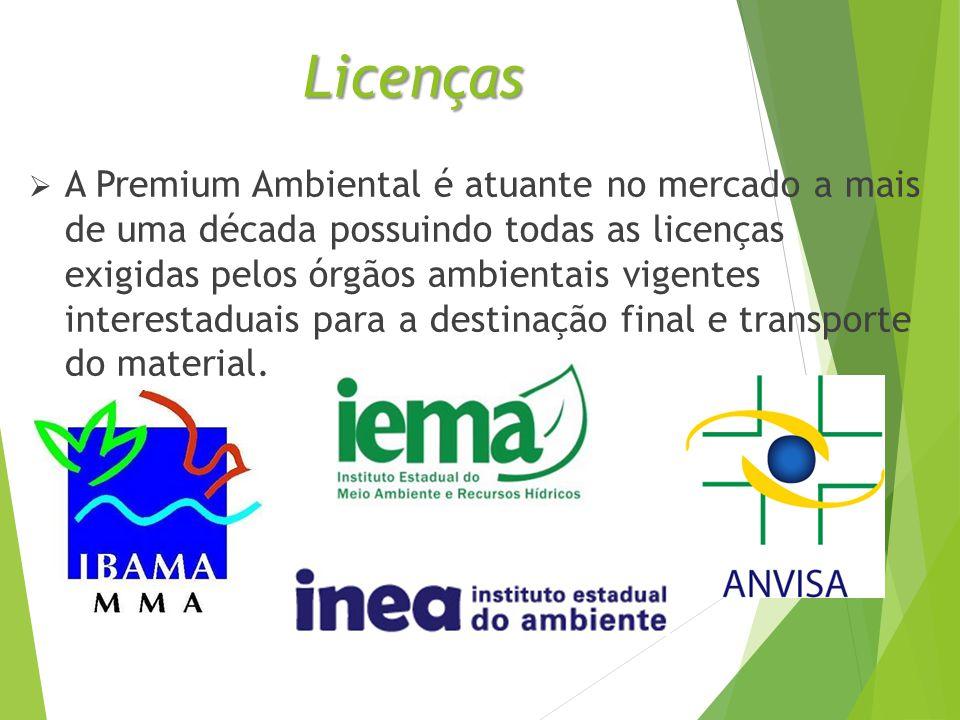 Licenças  A Premium Ambiental é atuante no mercado a mais de uma década possuindo todas as licenças exigidas pelos órgãos ambientais vigentes interestaduais para a destinação final e transporte do material.
