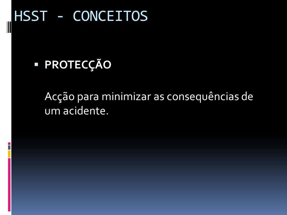  PROTECÇÃO Acção para minimizar as consequências de um acidente. HSST - CONCEITOS