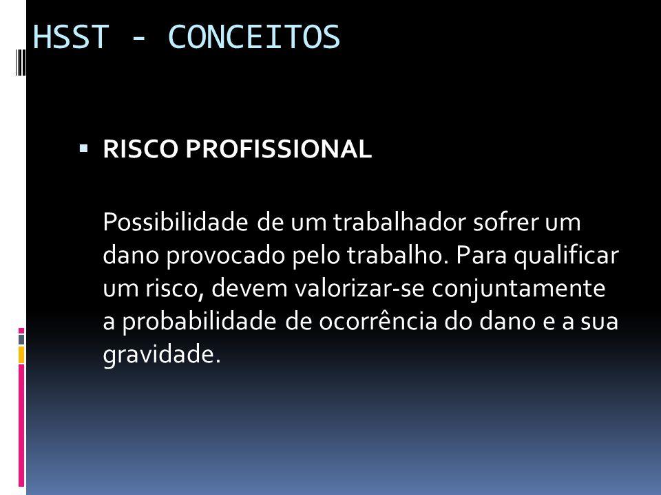  RISCO PROFISSIONAL Possibilidade de um trabalhador sofrer um dano provocado pelo trabalho. Para qualificar um risco, devem valorizar-se conjuntament