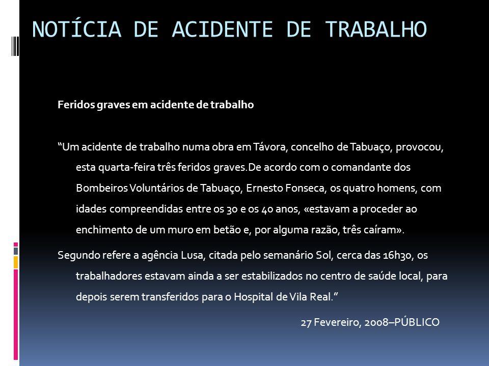 """NOTÍCIA DE ACIDENTE DE TRABALHO Feridos graves em acidente de trabalho """"Um acidente de trabalho numa obra em Távora, concelho de Tabuaço, provocou, es"""