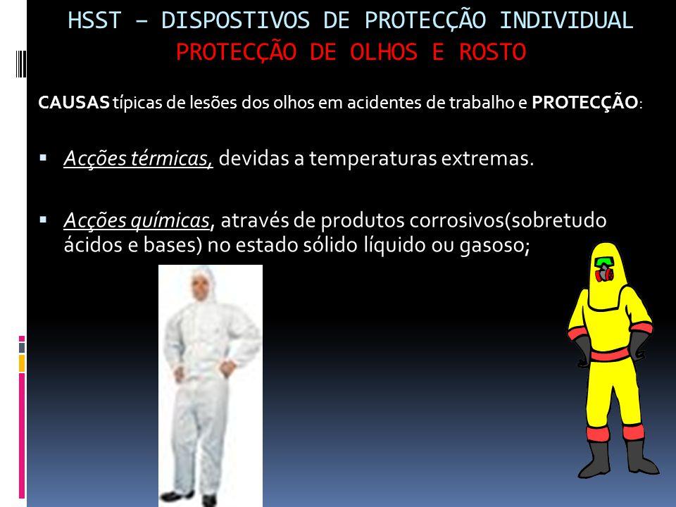 HSST – DISPOSTIVOS DE PROTECÇÃO INDIVIDUAL PROTECÇÃO DE OLHOS E ROSTO CAUSAS típicas de lesões dos olhos em acidentes de trabalho e PROTECÇÃO:  Acçõe