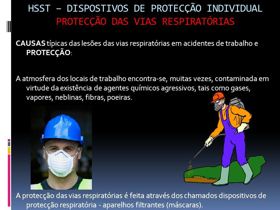 HSST – DISPOSTIVOS DE PROTECÇÃO INDIVIDUAL PROTECÇÃO DAS VIAS RESPIRATÓRIAS CAUSAS típicas das lesões das vias respiratórias em acidentes de trabalho