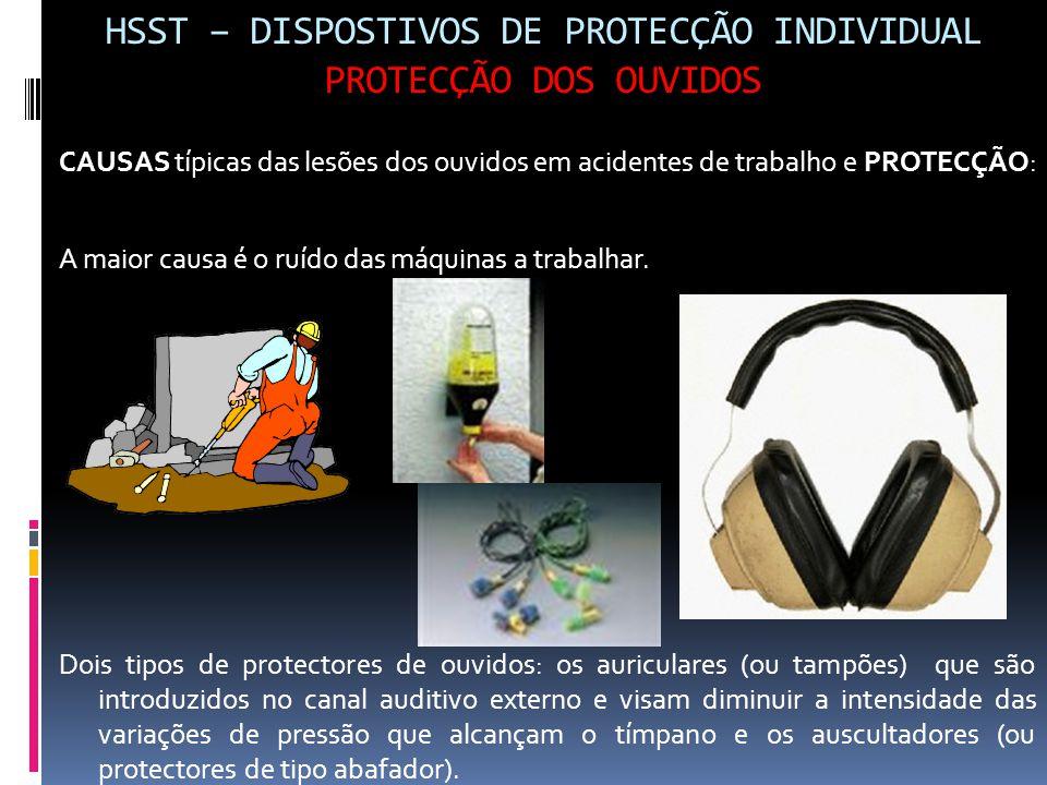HSST – DISPOSTIVOS DE PROTECÇÃO INDIVIDUAL PROTECÇÃO DOS OUVIDOS CAUSAS típicas das lesões dos ouvidos em acidentes de trabalho e PROTECÇÃO: A maior c