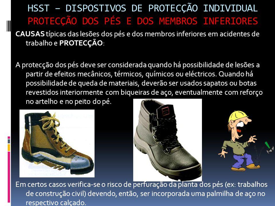 HSST – DISPOSTIVOS DE PROTECÇÃO INDIVIDUAL PROTECÇÃO DOS PÉS E DOS MEMBROS INFERIORES CAUSAS típicas das lesões dos pés e dos membros inferiores em ac