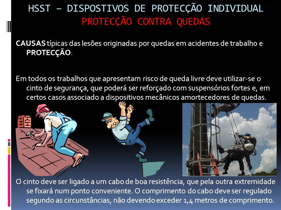 HSST – DISPOSTIVOS DE PROTECÇÃO INDIVIDUAL PROTECÇÃO CONTRA QUEDAS CAUSAS típicas das lesões originadas por quedas em acidentes de trabalho e PROTECÇÃ