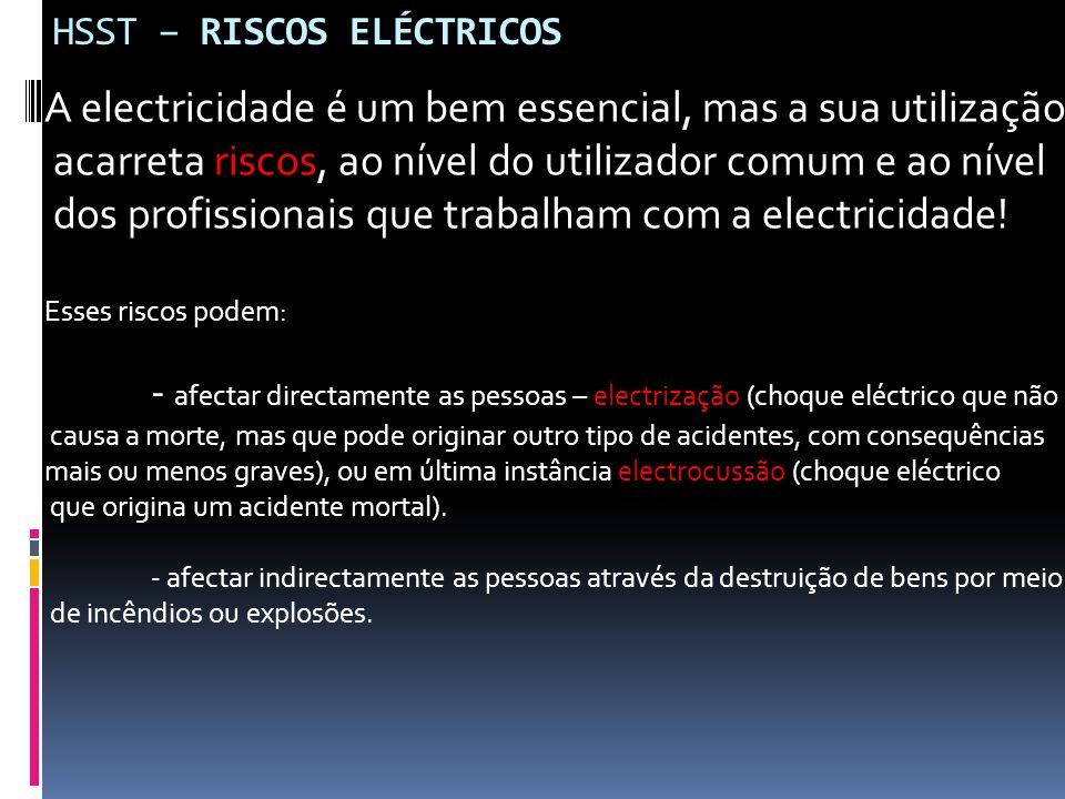 HSST – RISCOS ELÉCTRICOS A electricidade é um bem essencial, mas a sua utilização acarreta riscos, ao nível do utilizador comum e ao nível dos profiss