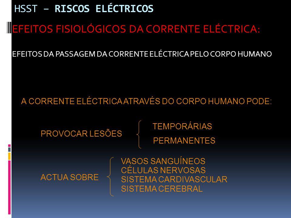 HSST – RISCOS ELÉCTRICOS EFEITOS FISIOLÓGICOS DA CORRENTE ELÉCTRICA: EFEITOS DA PASSAGEM DA CORRENTE ELÉCTRICA PELO CORPO HUMANO A CORRENTE ELÉCTRICA