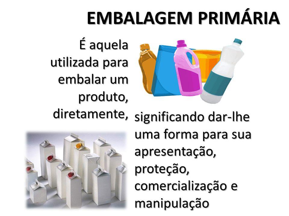 EMBALAGEM PRIMÁRIA É aquela utilizada para embalar um produto, diretamente, significando dar-lhe uma forma para sua apresentação, proteção, comerciali