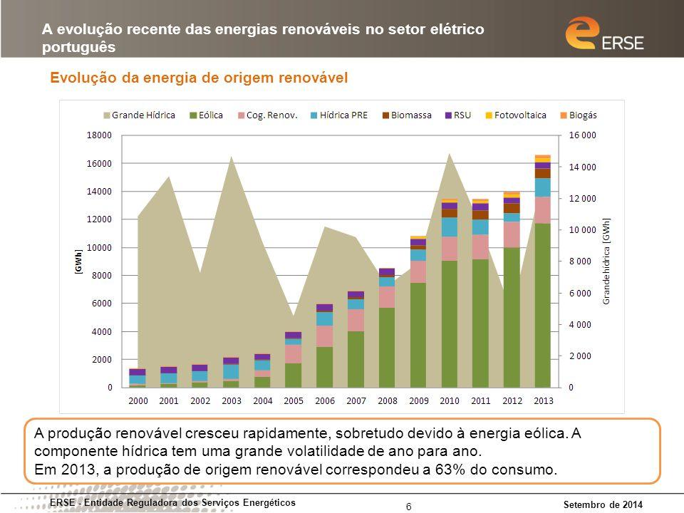 Evolução da energia de origem renovável ERSE - Entidade Reguladora dos Serviços Energéticos Setembro de 2014 A evolução recente das energias renováveis no setor elétrico português 6 A produção renovável cresceu rapidamente, sobretudo devido à energia eólica.