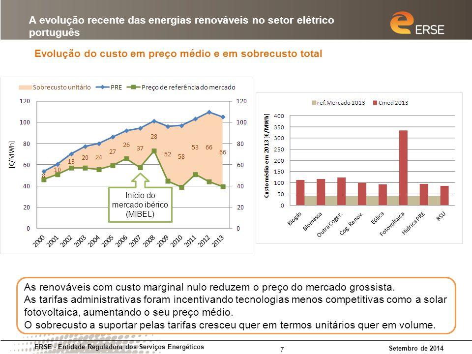 A subutilização das centrais térmicas (em particular as TGCC) ERSE - Entidade Reguladora dos Serviços Energéticos Setembro de 2014 A evolução recente das energias renováveis no setor elétrico português 8 O consumo tem-se mantido estável enquanto a produção renovável (sobretudo eólica) cresceu rapidamente.