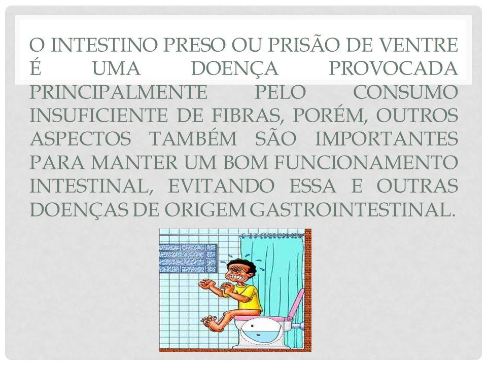 O INTESTINO PRESO OU PRISÃO DE VENTRE É UMA DOENÇA PROVOCADA PRINCIPALMENTE PELO CONSUMO INSUFICIENTE DE FIBRAS, PORÉM, OUTROS ASPECTOS TAMBÉM SÃO IMPORTANTES PARA MANTER UM BOM FUNCIONAMENTO INTESTINAL, EVITANDO ESSA E OUTRAS DOENÇAS DE ORIGEM GASTROINTESTINAL.